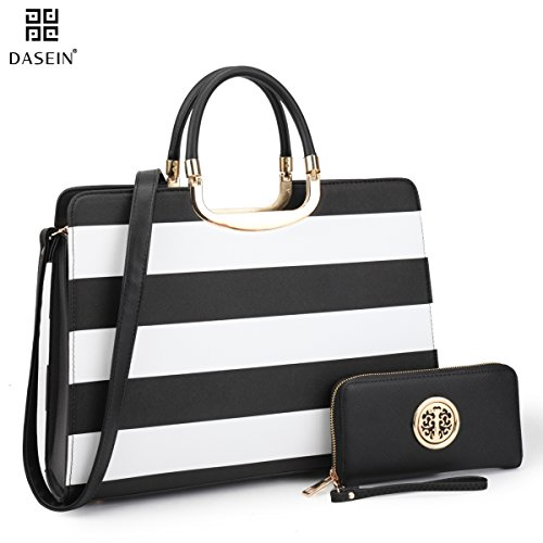Dasein Designer Purse Stripes Satchel Handbag PU Leather Purse Top Handle Handbags (XL2828 stripe 2PCs- Black/White) by Dasein