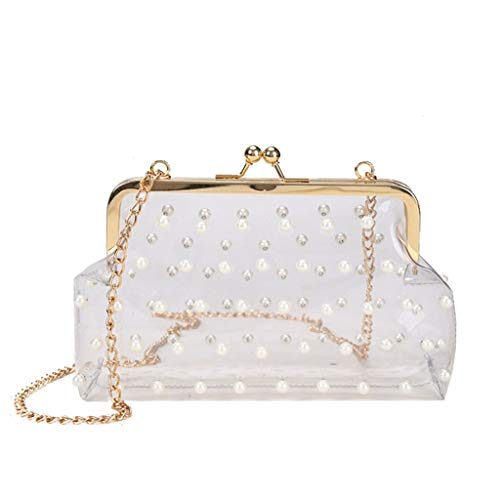 (justHIGH's Bags Women Chain Crossbody PVC Clear Shoulder Bag Jelly Pearls Clutch Evening Kiss Lock Purse (White) )