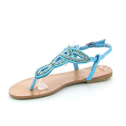 Go Mode - Sandalias planas à strass - Mujer Azul - azul