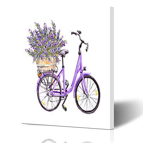 Homeyard Canvas Prints Wall Art Spring Violet Bicycle Lavender France Flowers Bouquet Basket in 16 x 16 Inches Wooden Framed Artwork Painting Home Decor Bedroom Office