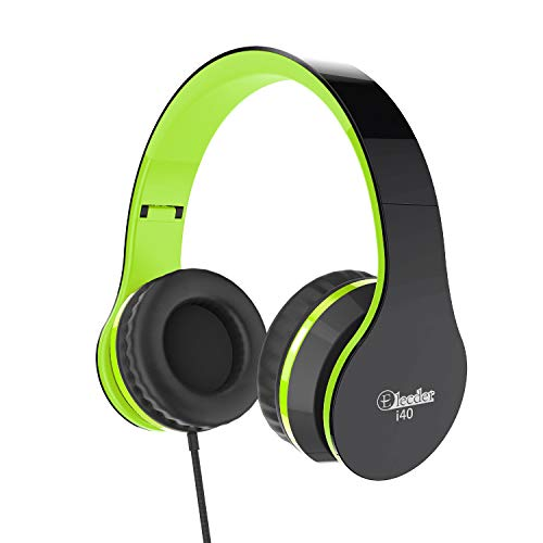 Elecder i40 Headphones with Microphone for Kids Children Girls Boys Teens Adults Foldable Adjustable Wired On Ear Headsets for iPad Cellphones Computer MP3/4 (Green/Black)