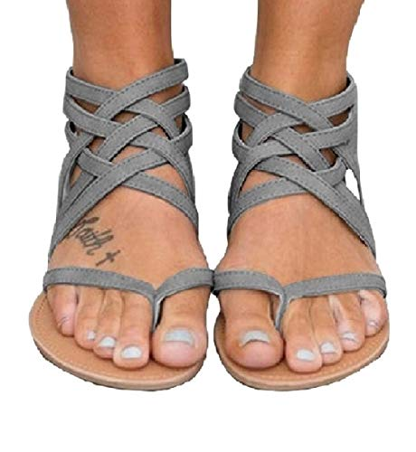 Blivener Women's Casual Gladiator Sandals Summer Zipper Strappy Thong Flats Shoes GREY39
