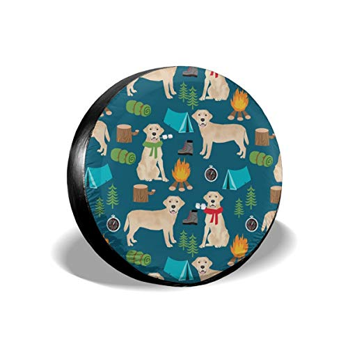 X-Large Yellow Labrador Camping Outdoors Dog Breed Navy Polyester Universal Spare Wheel Tire Cover Wheel Covers Jeep Trailer RV SUV Truck Camper Travel Trailer Accessories 16 inch