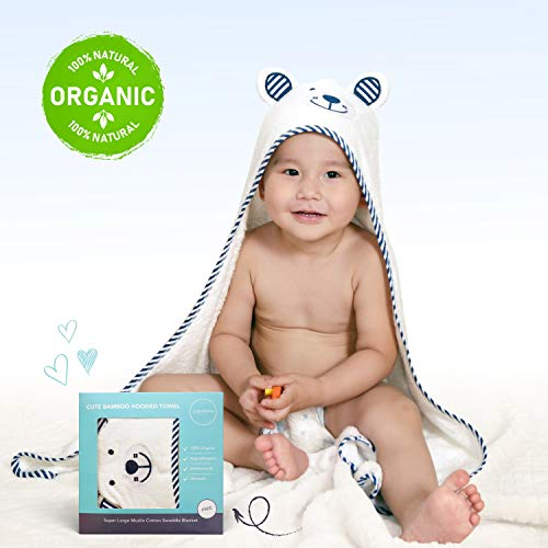 Premium Baby Towel by Pochono - Bamboo Baby Hooded Towel Set with Bonus Muslin Swaddle Blanket - Organic, Soft, Hypoallergenic and Ultra Absorbent Baby Towels with Cute Bear Design - Blue ()