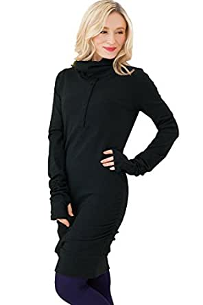 Sweet Mommy Loose Turtleneck Nursing and Maternity Long Sleeve Tunic Top Black M