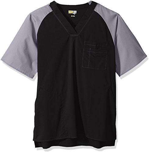 (WonderWink Wonderflex Men's Anchor Color Block Top, Black, Large)