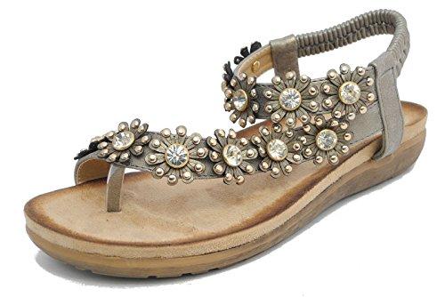Boulevard - Zapatos con correa de tobillo mujer Plateado - gris