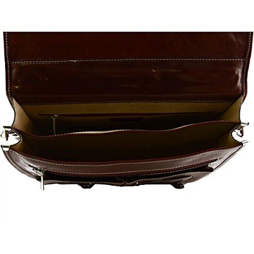 Cartella In Vera Pelle Colore Rosso - Pelletteria Toscana Made In Italy - Business Venta Cuánto l5OYoc