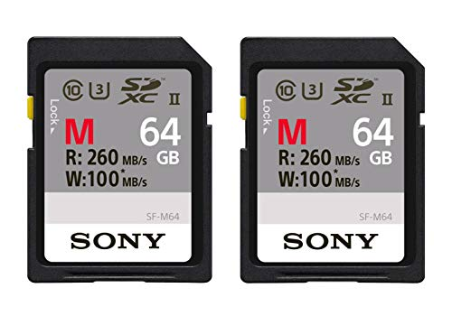 2 Pack - Sony 64GB SDXC UHS-II Class 10 U3 Memory Card (SF-M64/T) with Blazing Fast Read Speed up to260MB/s
