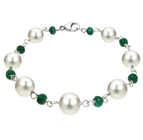 Sterling Silver 8-8.5mm White Freshwater Cultured Pearl and 4-5mm Green Emerald Bracelet, 7.5