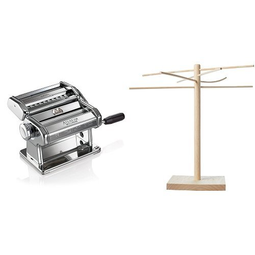 Marcato Atlas Pasta Machine, Stainless Steel, Includes Pasta Cutter, Hand Crank, and Instructions & Norpro Pasta Drying Rack