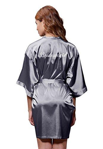Turquaz Linen Satin Kimono Rhinestone Bridesmaid Robe (Large, Charcoal)