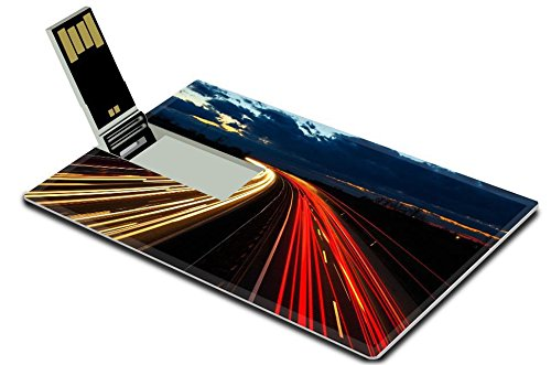 Luxlady 32GB USB Flash Drive 2.0 Memory Stick Credit Card Size Highway at night in long exposure with traffic IMAGE - Expressway Shipping