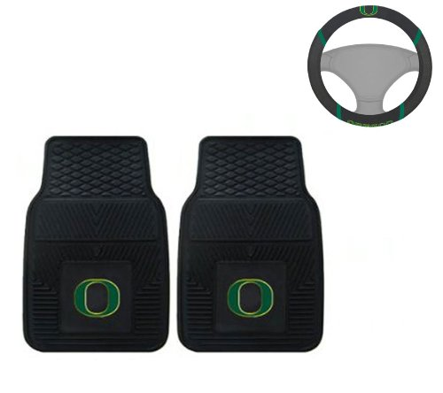 A set of 3 Piece Automotive Gift Set: 2 Front All Weather Floor Mats and 1 Wheel Cover - University of Oregon Ducks -