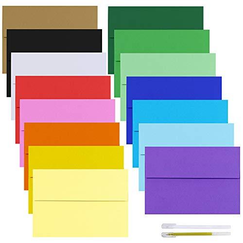 Fold Letter Envelope - Supla 90 Pack 15 Colors Invitation Envelopes 5 3/4