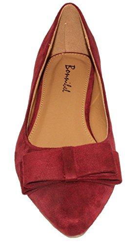 Bonnibel Dames Hetty-1 Faux Suede Pinty Teen Instapper Ballerina Bordeauxrood