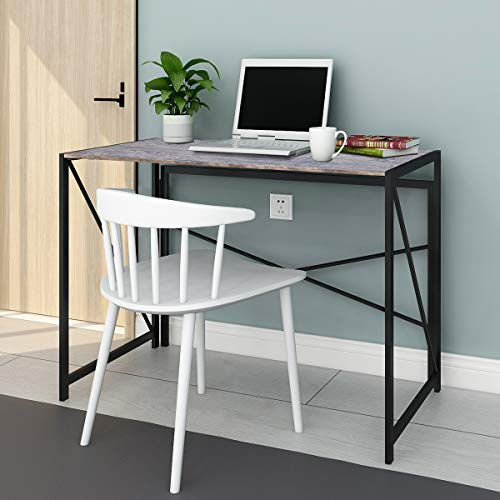 BOFENG Rustic Office Table Vintage Commercial Home Office Desk with Heavy Duty Iron Base Solid Wood as Writing Desk or Computer Desk