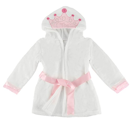 Puseky Baby Girls Princess Crown Lace Dressing Gown Bath Robe Sleepwear Pajamas (2-3 Year, (Toddler Girl Robe)