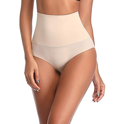 High Waisted Shapewear Briefs for Women Tummy Control Brief Underwear Body Shaping Panties Beige