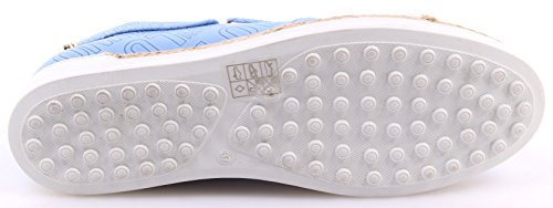 Zapatos Mujer Sneakers LOVE MOSCHINO Slip On Roma Nappa PU Light Blue Nuevo New