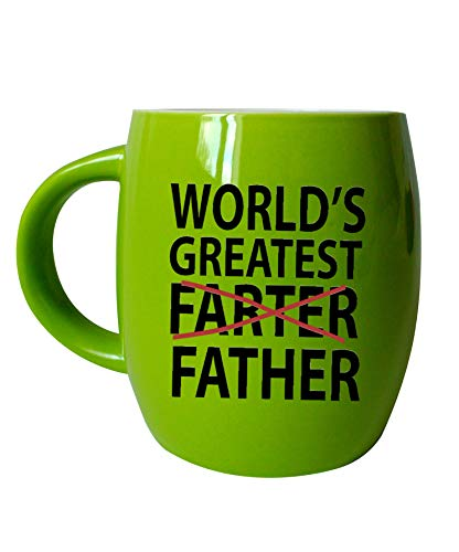 Basic Needs Ceramic Coffee Mug - Worlds Greatest Farter Father - Novelty Drinkware Cups - Perfect for Sports Fan, Travel or Camping Loving Dad Coffee Mugs - Yellow Green ()