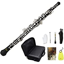 ammoon Oboe C Key Cupronickel Plated Silver Woodwind Musical Instrument for Beginner with Reed Gloves Cleaning Cloth Lubricant Screwdriver Leather Case Bag Strap