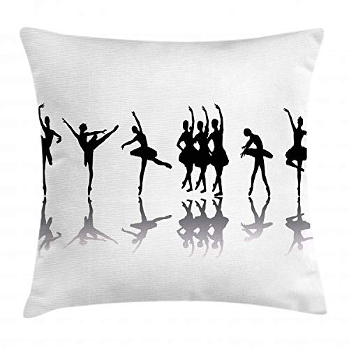 Sugar Plum Bench Seat - Ambesonne Ballet Throw Pillow Cushion Cover, Ballerinas on Stage Concert Dance Sugar Plum Fairy Theatrical Artistic, Decorative Square Accent Pillow Case, 16 X 16 Inches, Black Pale Grey White