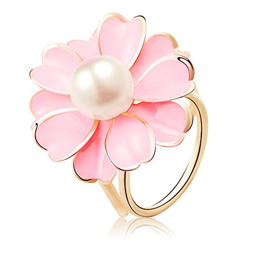 Reizteko Women's Fashion Hollow Flower Faux Pearl Gold Toned Scarf Ring Buckle Clip - Ring Pink Flower