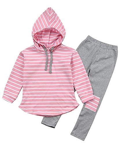 ModnTogaHot Sale Toddler Kids Boy Girl Striped Long Sleeve Hoodie Pants Outfits Winter Clothes Set for 3-7Y (Pink, 90 (2T)) ()