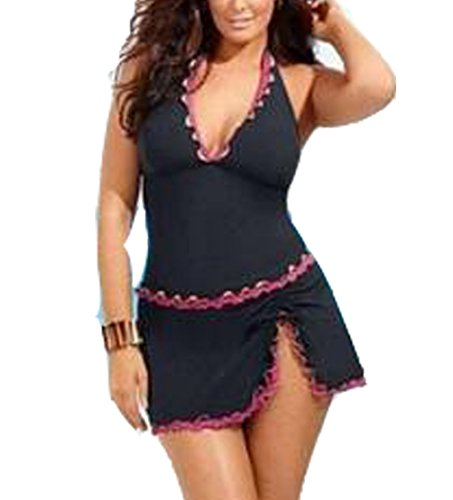 Blugibedramsh Womens Plus Size Tankini Swimsuits Ruffled Two Piece Bathing Suit Swimwear Rose ( XXXL )