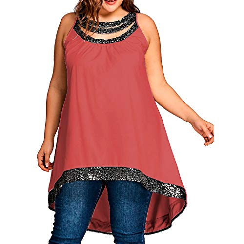 - JustWin Women Plus Size O-Neck Sleeveless Top Solid Color Sequins Spliced Easy T-Shirt Blouse Tops Red