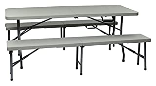 Office Star Resin 3-Piece Folding Bench and Table Set, 2 Benches and 6 x 2.5-Feet Table (B0015TRLQQ) | Amazon Products