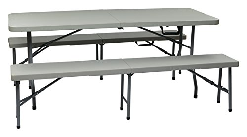 (Office Star Resin 3-Piece Folding Bench and Table Set, 2 Benches and 6 x 2.5-Feet Table )