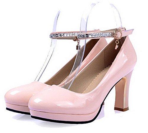 altos Cerrada PU Sólida Zapatos Punta Tacones Hebilla Ronda Rosa VogueZone009 Bombas Mujeres f8YOFF