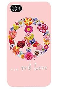 carcasa de carcasa duro de la carcasa para Apple iPhone 4, 4S (motivo Paz y amor del signo hecha de flores)