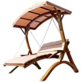 AS-S Design Hollywood Swing Garden Swing Hollywood deck double deck wooden larch with roof model:'ARUBA, Color:MACAO