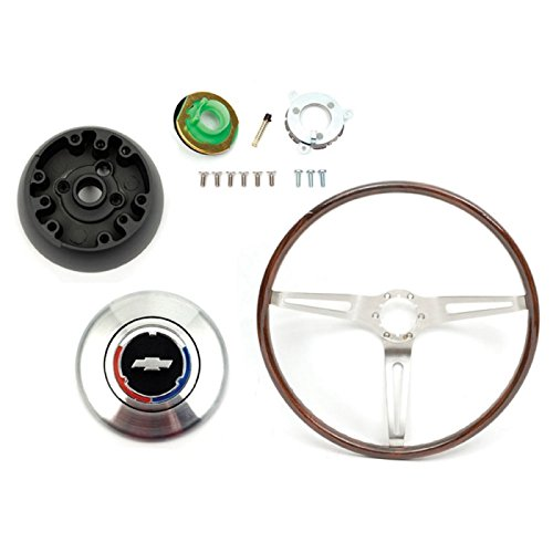 Eckler's Premier Quality Products 33-182062 Camaro Deluxe Wood Steering Wheel Kit, Rosewood, For Cars With Non-Tilt Steering Column,