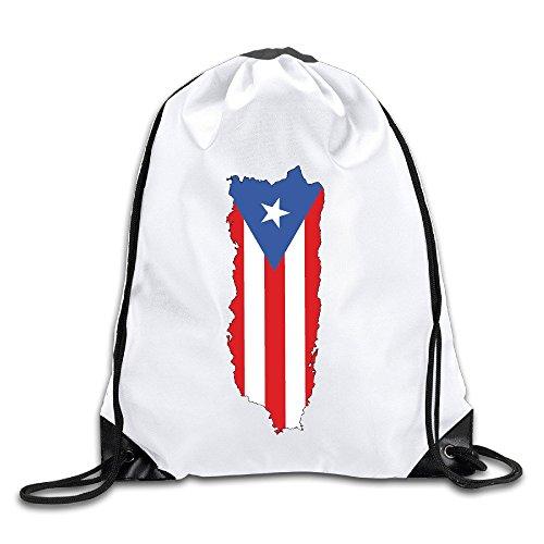 Puerto Rico Flag Map Drawstring Backpack Bag Gym - Ferrari Rico Puerto