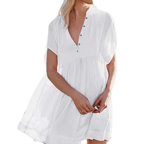 Big Wintialy Women Button Long Sleeve Dress Suit Bikini Swimwear Beach Sexy Swimsuit Smock White