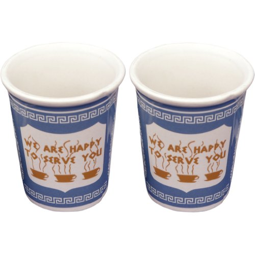 Exceptionlab Inc We Are Happy To Serve You 3 Ounce Ceramic Espresso Cup, Set of 2