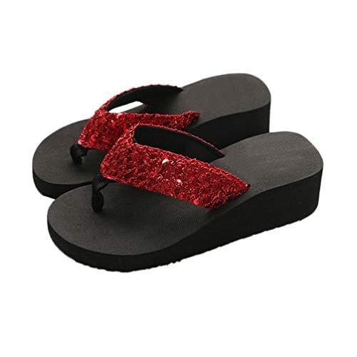 Womens Platform Flip Flops Female Soft Non-Slip Summer Beach Open Toe Thong Slides Low Wedge Sandal