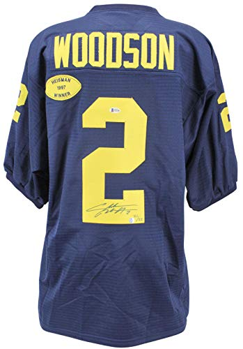(Charles Woodson Signed Jersey - Navy Blue LE #21 22 BAS #H92186 - Beckett Authentication - Autographed College Jerseys)