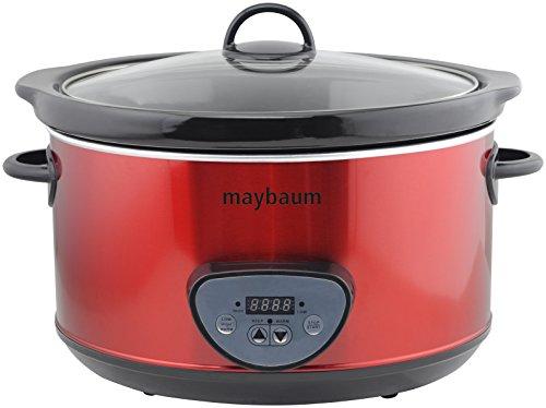 Maybaum MAYB SC 1 Digitaler Schongarer / Slow Cooker für 1001 Gerichte, 4,5 L, metallic rot