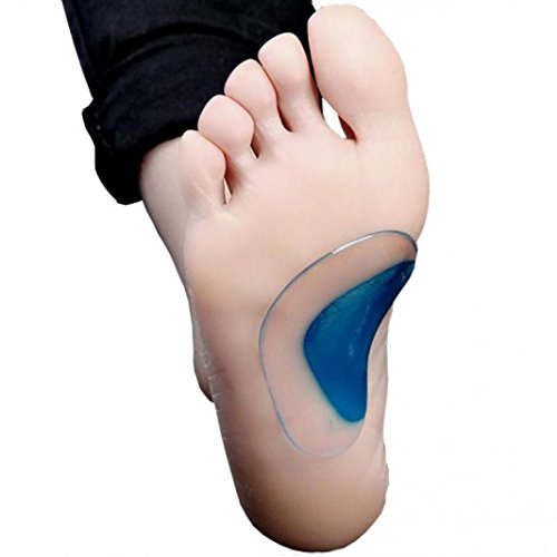 Silicone Arch Support Insoles Flat Feet Correction Set of 2 Pairs Gel Orthopedic Orthotic Insoles Cushion Relieves Pain and Reduces Pressure