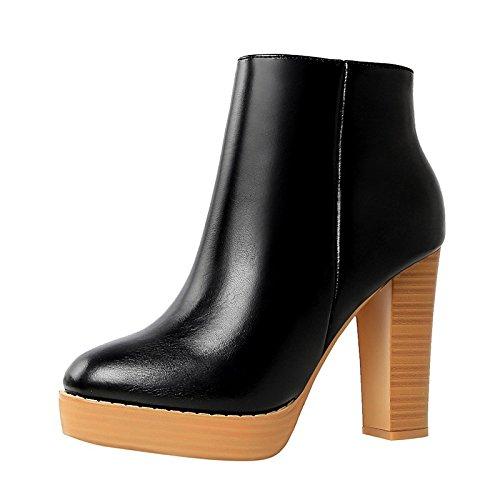 caduta passeggio Comfort Brown di vestire Scarpe Stivaletti da donna da primavera Chunky punta stivali Babbucce scarpe tonda Khaki HSXZ in di fibbia Black similpelle per tallone YzOSqA