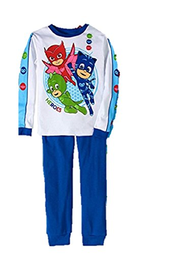 Cotton Tights Long Sleeve (AME PJ Masks Boy 2 PC Long Sleeve Tight Fit Cotton Pajama Set Heroes (6))