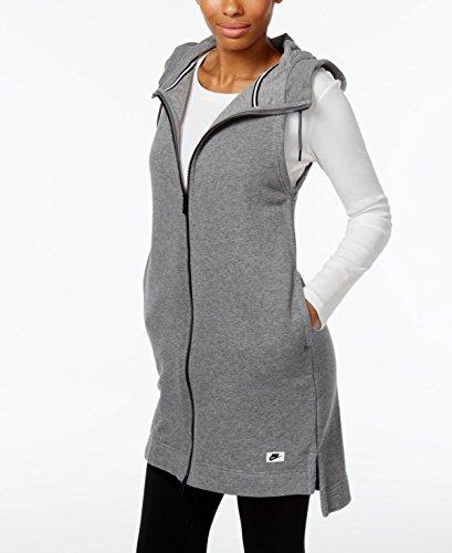 Nike Women's Sportswear Modern Hooded Vest (Medium, Carbon Heather/Dark Grey) Nike Winter Vest