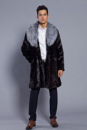 Parka Lapin De Fourrure Manteau Gris Revers Imitation Faux Synthetique Col Mi Fausse Cardigan longue Homme Vlunt Vetements qwOvOI
