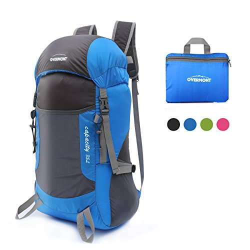 Overmont Outdoor Nylon Foldable Backpack Camping Hiking Travel Leisure Bag Case Large Capacity Portable for Tablet PC iPad Smart Phone Umbrella Cup Magazine Color Black Blue Green Rose