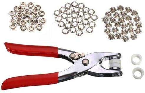 9.5mm 100 Set 4 Colour Snap Popper Prong Ring Fastener Press Studs Plier Tool